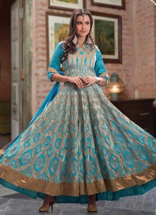 Pretty Sky Blue Banarasi Silk Embroidery Work Long Anarkali  Suit http://www.angelnx.com/Salwar-Kameez/Anarkali-Suits