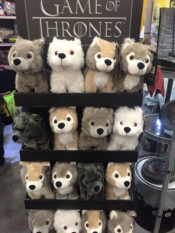 Dire wolf wolves plush toys Game of Thrones direwolves toy fair 2016 (via actionfigurcollectors.com)