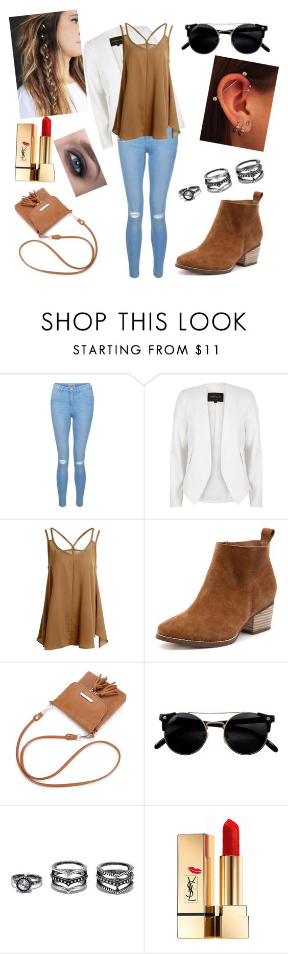 """jb"" by nayawal on Polyvore featuring moda, New Look, River Island, Lulu*s y Yves Saint Laurent"