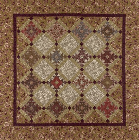 "Patterns Bordeaux   Made in lovely rust, olive green, red and brown. This is a great pattern for a blended look wall quilt. Approx. 70"" x 70"". From red crinoline quilts - Paula Barnes"