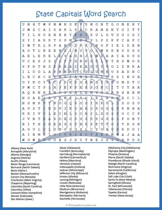 state capitals word search puzze a well word search and student. Black Bedroom Furniture Sets. Home Design Ideas