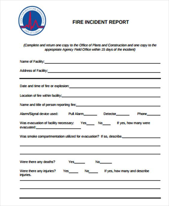 construction incident report templates free word pdf format fire - incident report word template