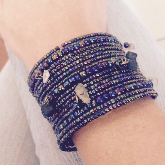 Gorgeous rock bead charm cuff Handmade in Bali from beautiful metallic seed beads and rock charm details. Strung from memory wire for a gentle universal fit. Gorgeous boho bead cuff Handmade Jewelry Bracelets