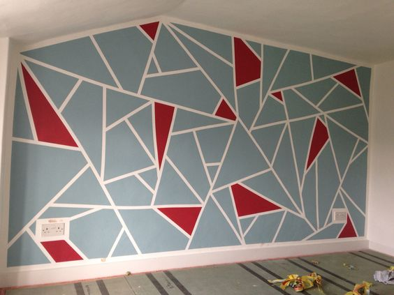 Diy geometric feature wall frog tape and dulux roasted for Geometric paint designs