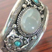 Gorgeous Moonstone & Turquoise in Tibet Silver!  From Coco Island Jewelry on Storenvy.