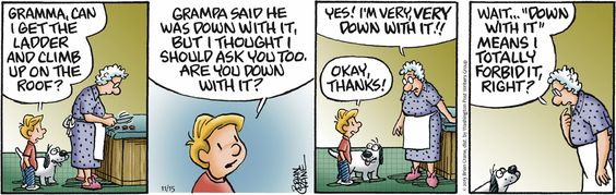Today's Pickles comic strip shows how language can be confusing