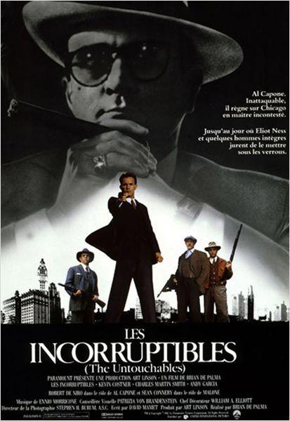 """Les Incorruptibles 1987 - A Chicago durant les années trente, lors de la prohibition, Al Capone règne en maître absolu sur le réseau de vente illégale d'alcool. Décidé à mettre un terme au trafic et à confondre Al Capone, l'agent Eliot Ness recrute trois hommes de confiance, aussi intraitables que lui. Ensemble, les quatre """"incorruptibles"""" partent en guerre contre le gang de Capone..."""