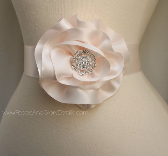 Blush Pink Flower Sash Sash Set - 3 in 1 - Double Faced Satin Ribbon Sash - Bridal Bridesmaids Flower girl Sashes