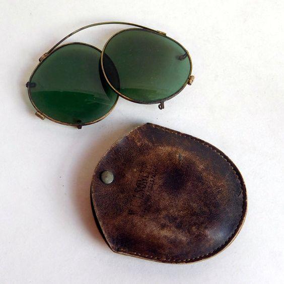 Vintage Willson Art Deco Clip-on Sunglasses w/ by vintagedazzle