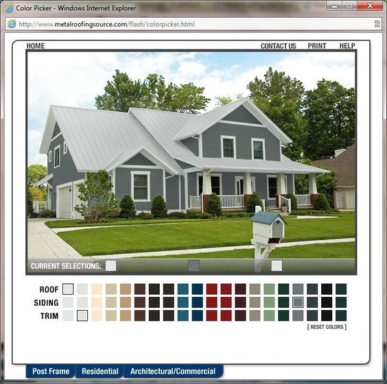 Metal roofing colour picker home exterior makeover pinterest metal siding colors and sheds - Metal exterior paint model ...