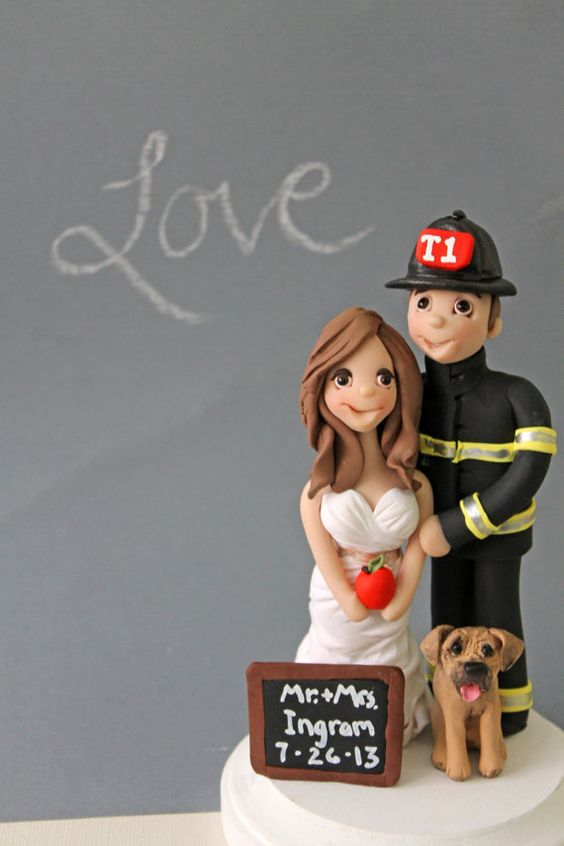 Firefighter Wedding Cake Toppers Fully Customized Cake