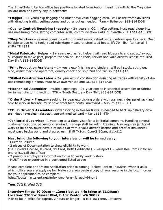 Flagger, Manufacturing, Janitoral, Warehouse, CDL - WALK IN - mechanical assembler resume