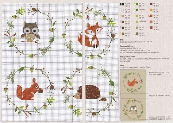0 point de croix grille et couleurs de fils animaux de la foret hibou renard ecureuil herisson - Grille point de croix pinterest ...