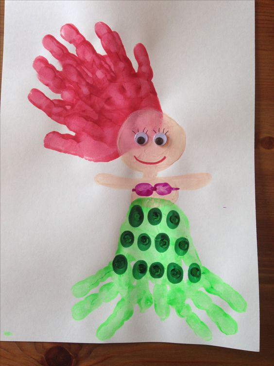 handprint mermaid craft ocean craft preschool craft