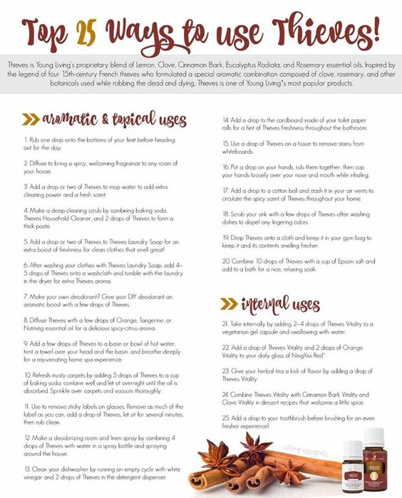Top 25 uses for Thieves essential oil. Definitely one of my all time favorite oils!!!