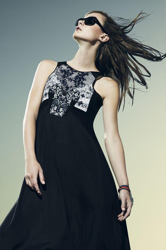 Black glasses and black dresses perfect for soaking up the sun. (BCBG Resort 2014)