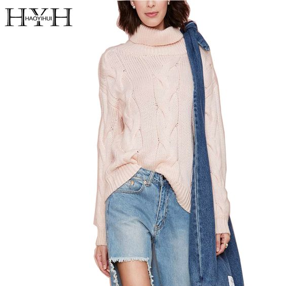 HYH HAOYIHUI 2016 Brand New Autumn Women Fashion Loose Ribbed Long Sleeve Sweater Solid Beige Straight Casual Sweater