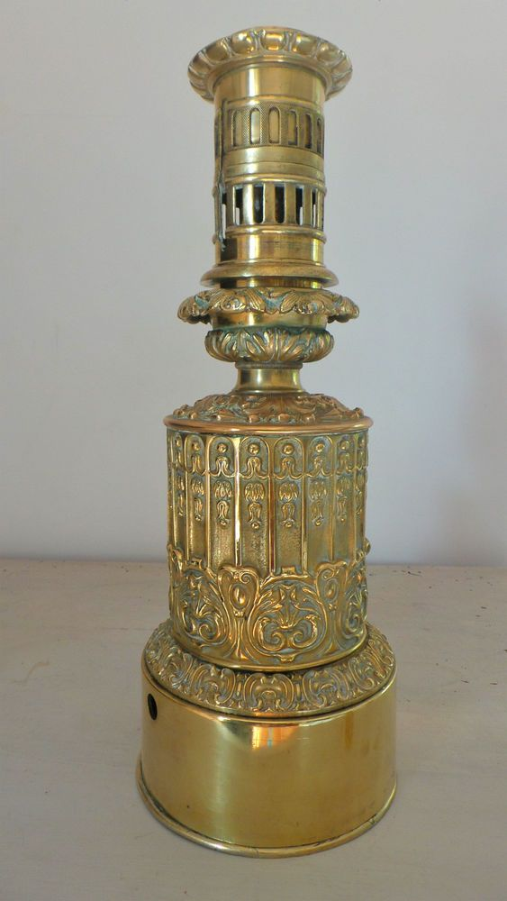 Rare Lampe A Petrole Huile Carcel Mouvement Horlogerie Antique