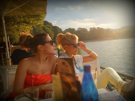 Ioannina city. Pamvotis lake. Sun, coffee and good friends is all we need to be happy