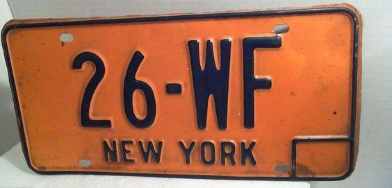 New York License Plate - 26-WF - Gold & Blue