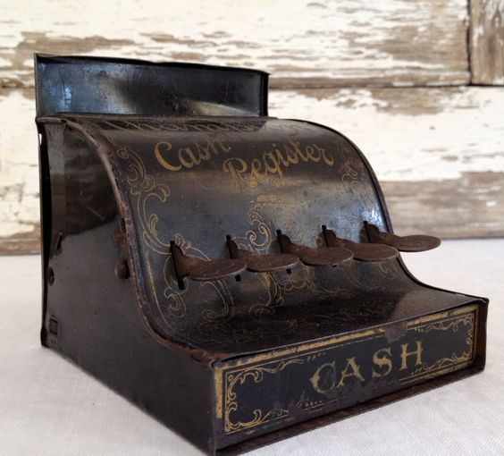 Antique toy cash register, salesman sample miniature cash register ...