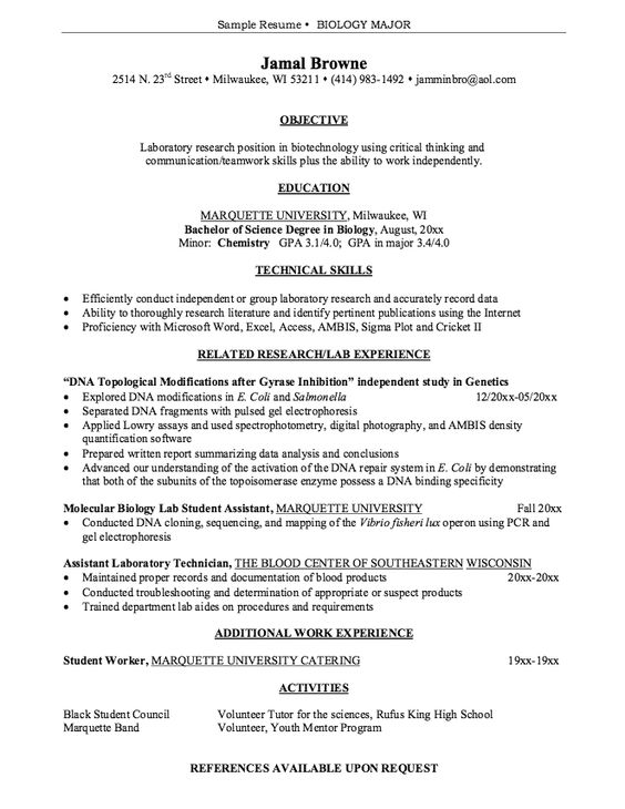 Transfer Student Resume Sample - http\/\/exampleresumecvorg - exercise science resume