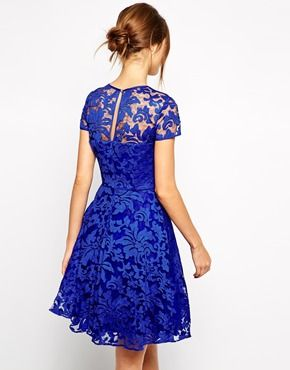 Enlarge Ted Baker Lace Dress with Sheer Floral Overlay