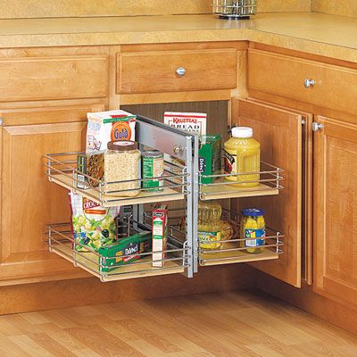 The Knape & Vogt Slide-Out Base Blind Corner Unit features a front set of shelves that slide out and to one side, allowing a second set tucked in the corner to slide forward. | Photo: Courtesy of Rockler.com | thisoldhouse.com: Corner Organizer