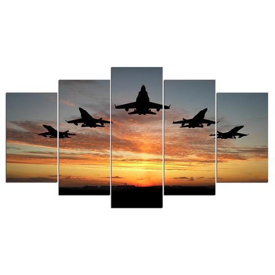 5 Panel Art Military Jet Airplane Fly Sunset Canvas Print Wall Pictures For Living Room Home Decor Free Shipping Canvas Art Wall Decor Wall Canvas Wall Prints