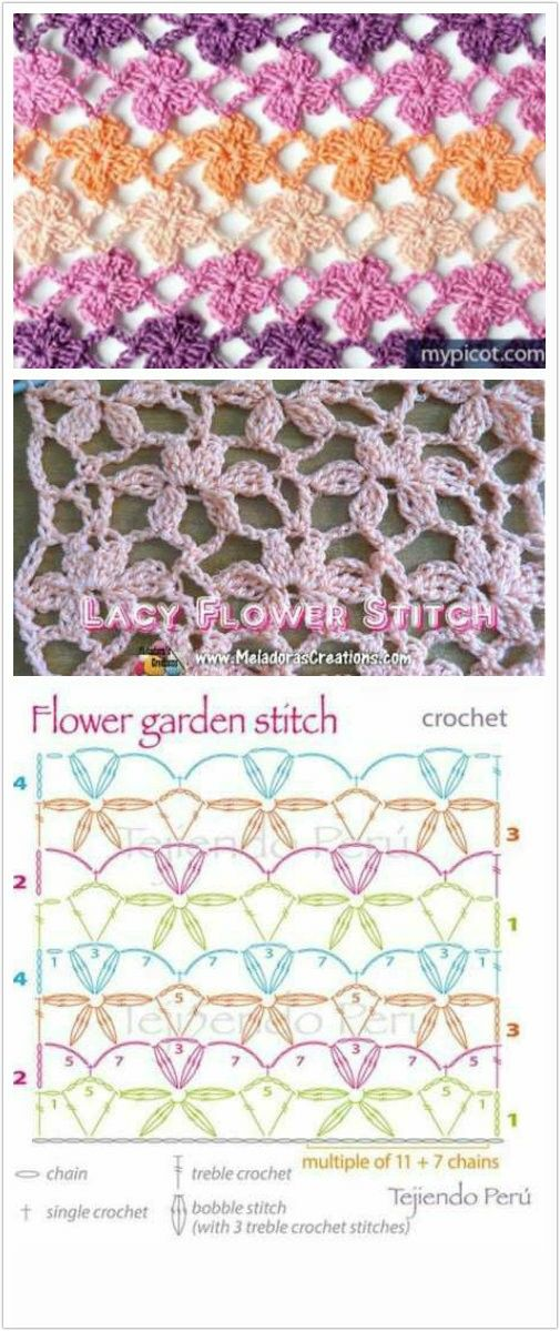 Flower garden stitch perfect for a scarf