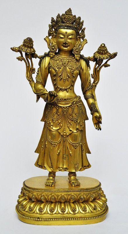 A Sino-Tibetan Gilt Bronze Standing Bodhisattva