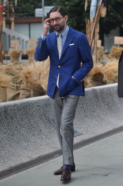 Blue jacket, grey slacks, light blue shirt | Sport coats ...