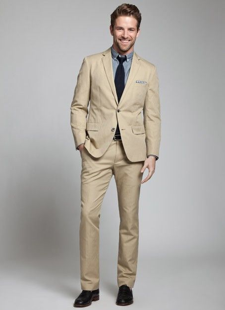 Khaki Suit / Summer WeddingNot to mention Model is my friend