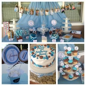The Simple Life boy baptism 1st birthday brown blue party