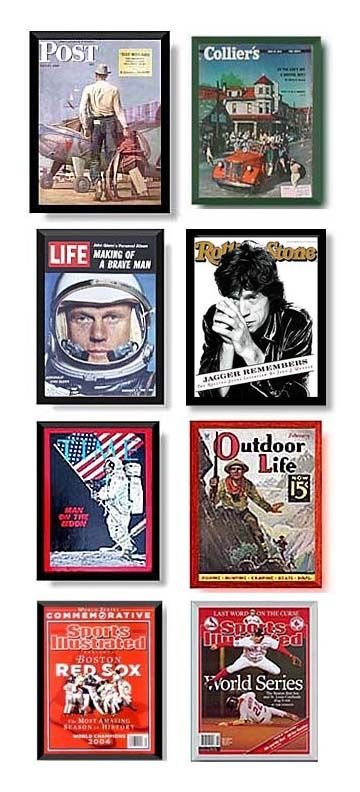 magazine frames are available in wood stains colors gold and silver large selection of sizes for popular magazines vintage and new sports illustrated