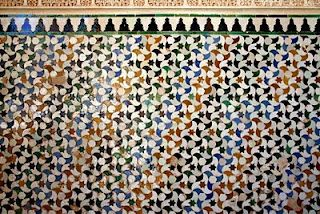 Ceramic mosaics at the Alhambra in Granada Spain. 15th Century Palace. Moorish Architecture