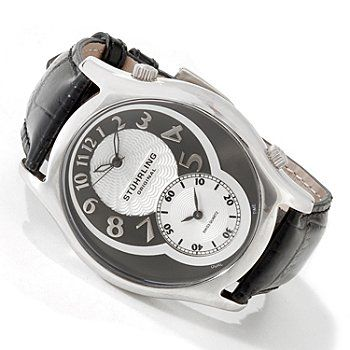 Stührling Original Mens Kensington Grand Quartz Dual Time Leather Strap Watch