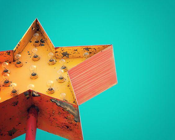 star tangerine orange Vintage sign photograph ruby red by bomobob, $30.00