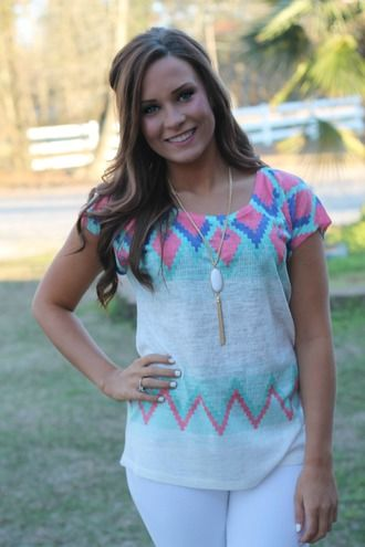 Another Day Top: Ivory/Mint