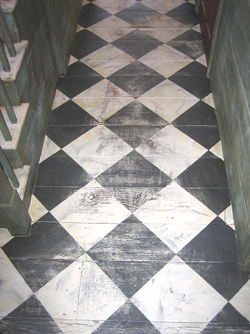 Rustic Painted Checkerboard Floor Adds A Hint Of