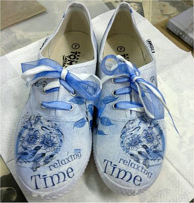 Simply adorable! Decoupage on Canvas Sneakers: