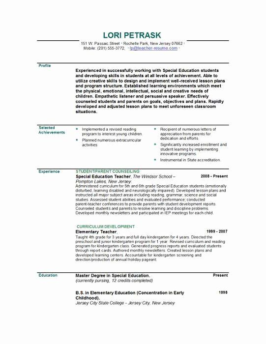 Special Education Teacher Resume Examples New Teacher Resumes In 2020 Teacher Resume Examples Education Resume Teaching Resume