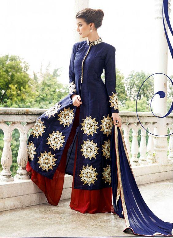 Raw Silk Lace Blue and Maroon Designer Palazzo Salwar Kameez