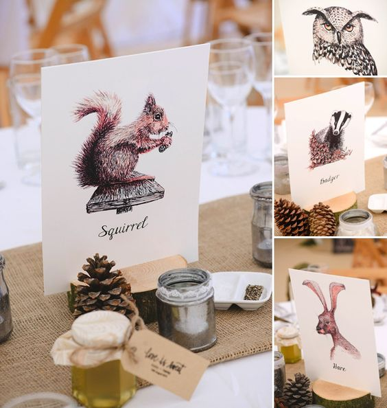 Countryside birds and animals inspired table names, from 'A Downton Abbey, Edwardian Garden Party Inspired Wedding'  Photography http://www.julieanneimages.com/