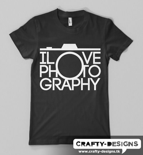 I Love Photography.  You can buy this I Love Photography tee over at Spreadshirt.  Available in a variety of colors, and in standard or v-neck.