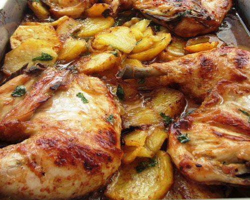 Pollo A La Provenzal Con Base De Patatas Pollo Al Horno Con Patatas Recetas De Pollo Marinado Pollo Asado Horno