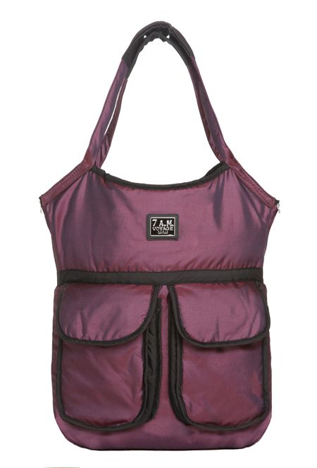 Barcelona Bag Metallic Plum! Its Three deep pockets, large mesh see-through compartment and secured zipper pocket keep your necessities secure and make organization easy.