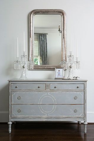 Antique silver Louis Philippe mirror, candelabra, and painted chest.  Others like these available through Linda McDougald Design | Postcard from Paris Home