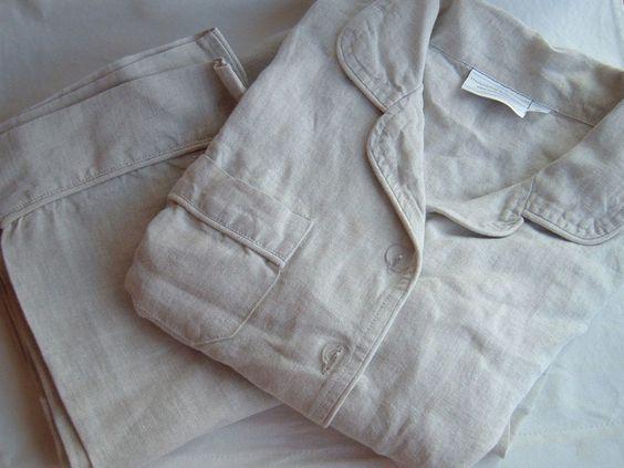 Hammacher Schlemmer Lady's Genuine Turkish Linen Pajamas Size Small 2 Piece Set