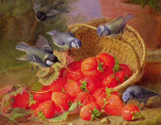 Eloise Harriet Stannard (1829-1915)  — Still Life With Strawberries And Bluetits (900x702):